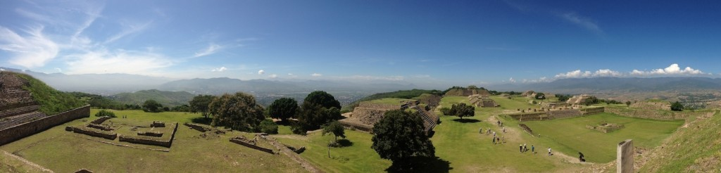 Monte Alban, ruins of the first city in the Americas (with view of Oaxaca de Juárez in the valley)