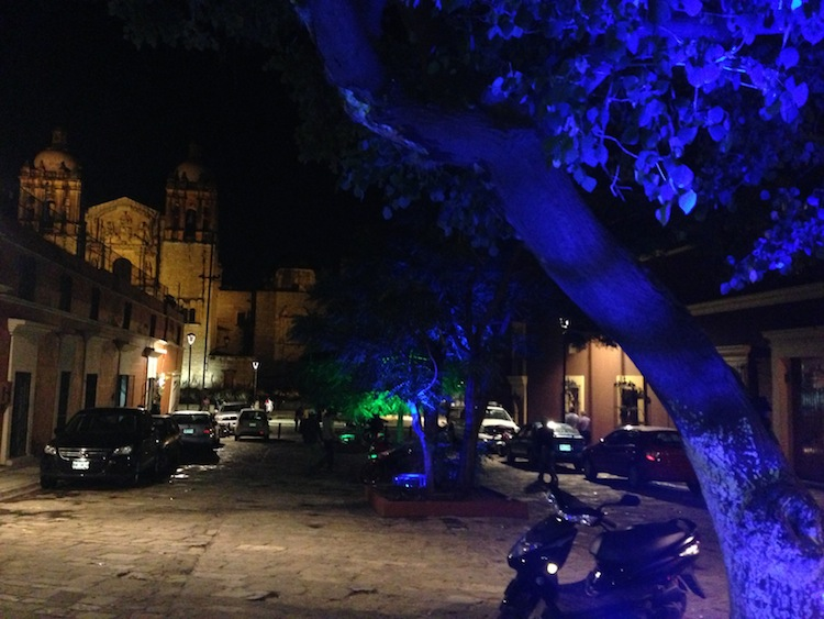Santo Domingo at night with blue trees