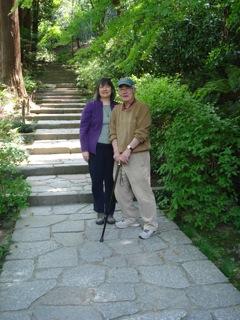 Mari L'Esperance with her uncle at Zuisen-ji Temple, Kamakura